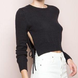 Brandy Melville Avah Sweater Crop Wool Blend Tie